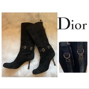 Authentic DIOR Cannage D Charm Suede Heeled Boots